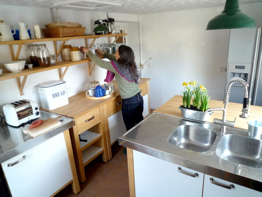Kitchen with oven & hob, fridge freezer & plenty of storage space - just off the dining area.