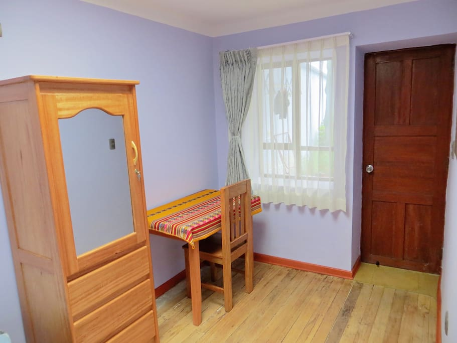 Closet, desk table and wifi are available.
