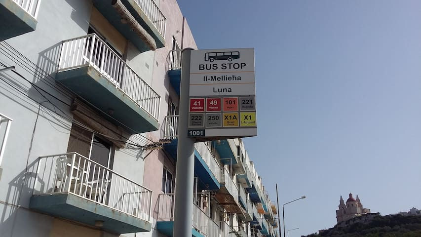 Bus stop near house if you go to Airport (when you live ) + all destinations . For more informations see Location after confirmation.