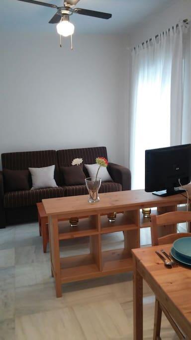 Salon con sofa para ver la televisión