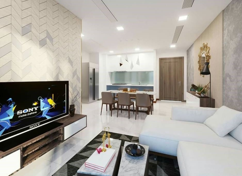 This is a livingroom and kitchen in your apt at Vinhome Central Park, Ho Chi Minh City, Vinhome Tân Cảng, Ho Chi Minh City