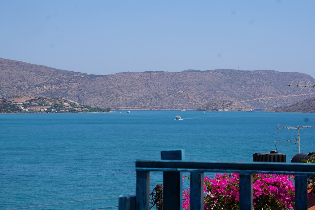 Stunning view overlooking  Spinalonga Island and Kolokytha Island from the terrace.
