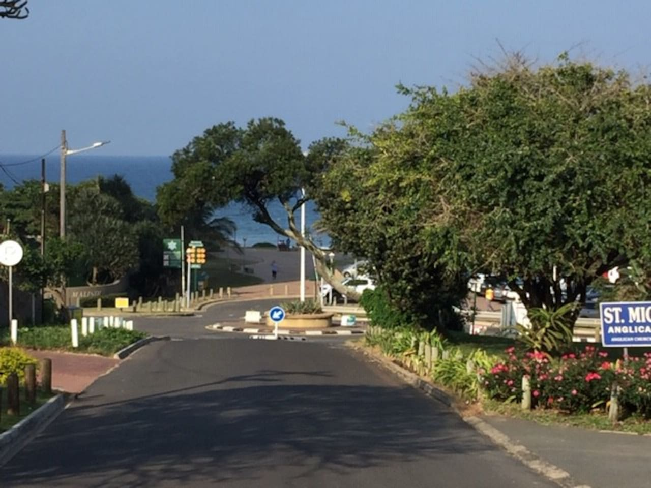 View from complex gate - Umhlanga promenade and sea