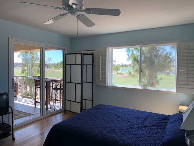 Queen bed.  Plantain shutters.  Ceiling fan.  Patio access.  3-panel shoji screen for privacy.