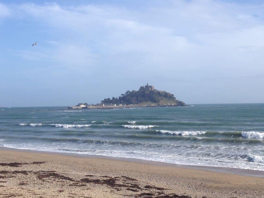 St Michael's Mount, across the bay.
