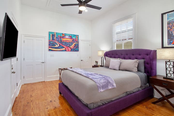 Spacious, well appointed master suite with private entrance to a beautiful outdoor patio.