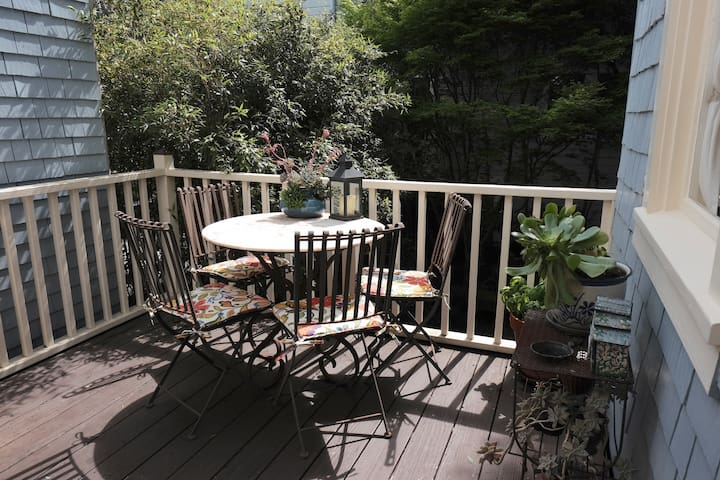 Our south-facing deck is the perfect place to enjoy a late breakfast in the sun.
