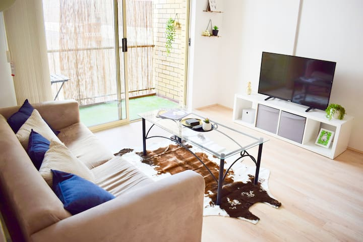 Fold out sofa and flat screen TV