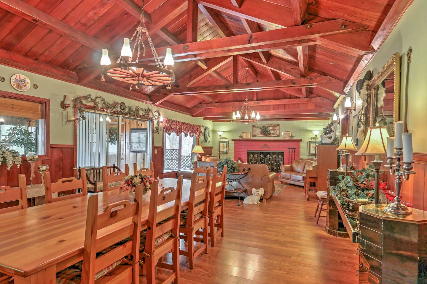 Wood floors and cathedral ceilings add to the charm and warmth of this home.