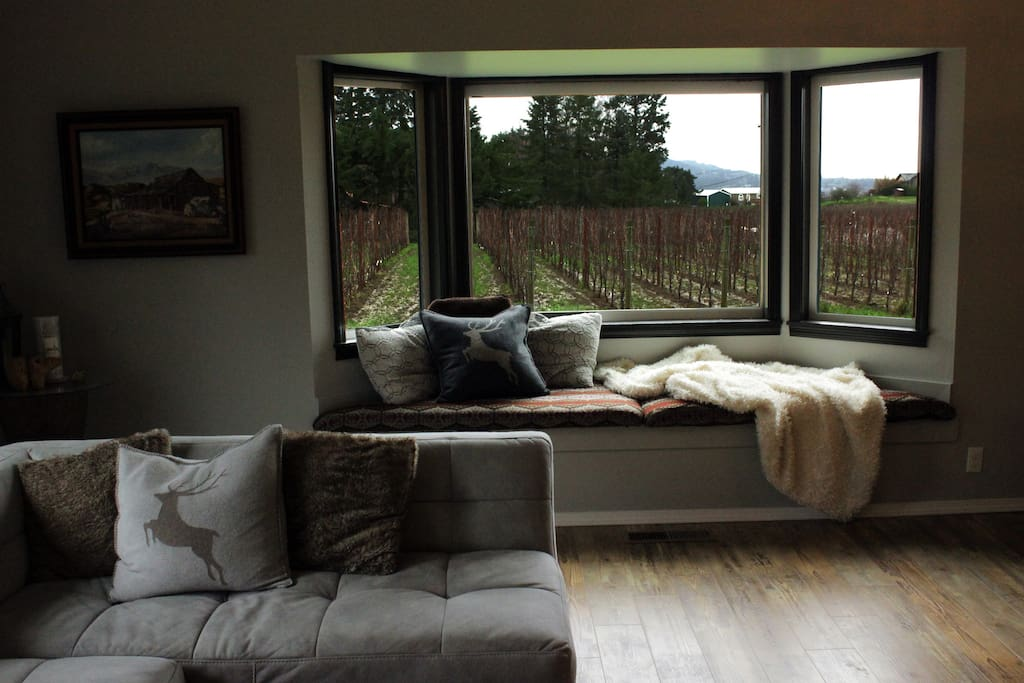 The bay window is a relaxing  reading or meditation area