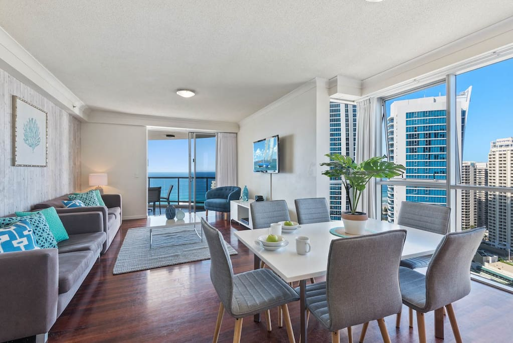 Living and dining area with ocean views