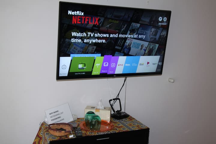 Large smart TV connected to high speed Wifi.
