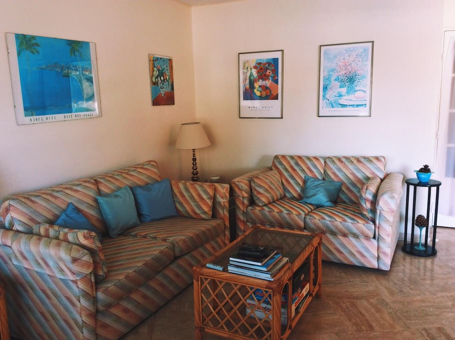 Living Room with double sofa bed