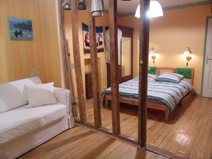 Belle chambre avec SDB, WC et salon privatifs