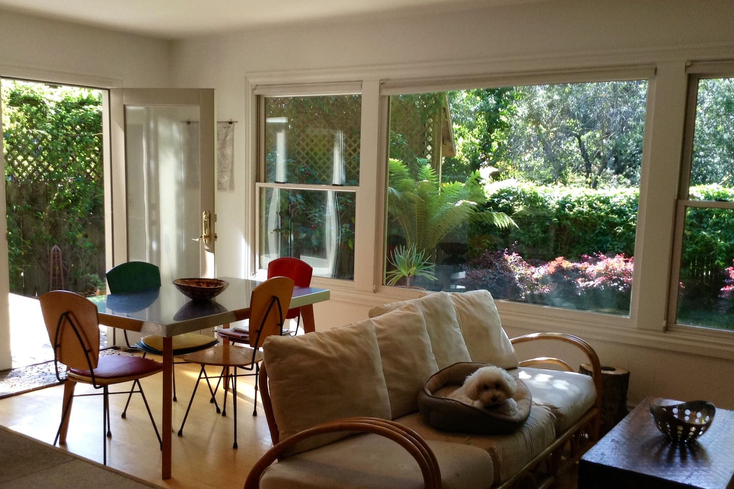 Lightfilled kitchen opens onto deck and back yard.