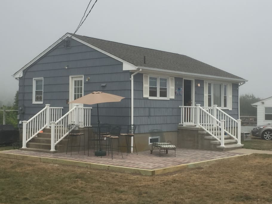 New Patio - though unusual dreary day in matunuck! Also a Weber Propane grill!