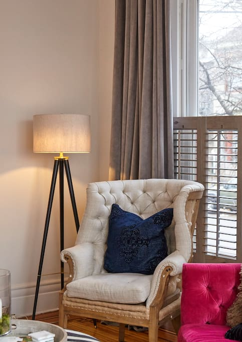 Cozy reading nook in the sitting room.