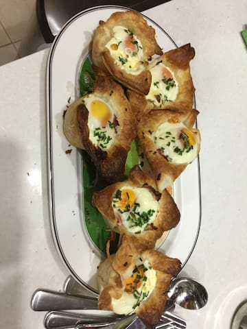 """A sample of """"Breakfast Pots"""" made with puff pastry, ham, sour cream and an egg"""