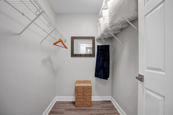 Walk-in closet with hangers, iron, and extra pillows.