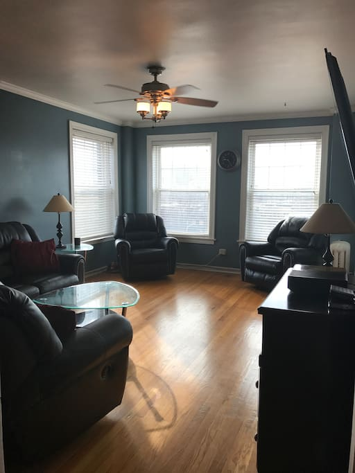 The recliner on the left is one of my favorite spots.  Feel free to open the windows, recline, and enjoy the cross-breeze!