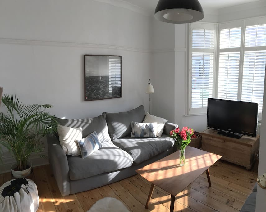 Living room with two large sofas and TV with HDMI for iPad etc.