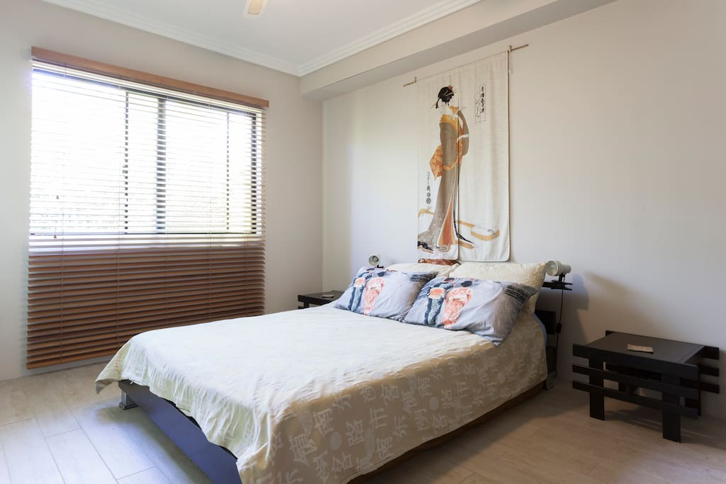 Spacious bedroom with Queen size bed & built in wardrobe