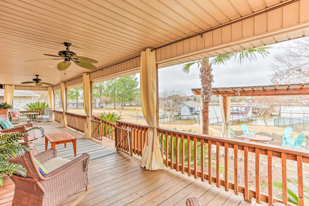 All 8 guests will love the covered porch at this 3-bedroom, 2-bathroom home.