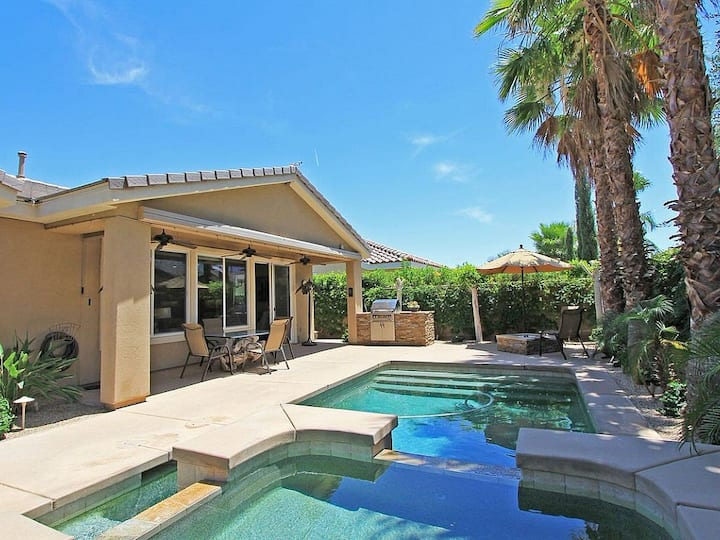 Inviting home w/ a private pool, pool spa, gas grill, firepit, & gated entrance!
