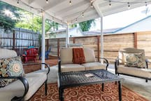 Outdoor seating in the backyard
