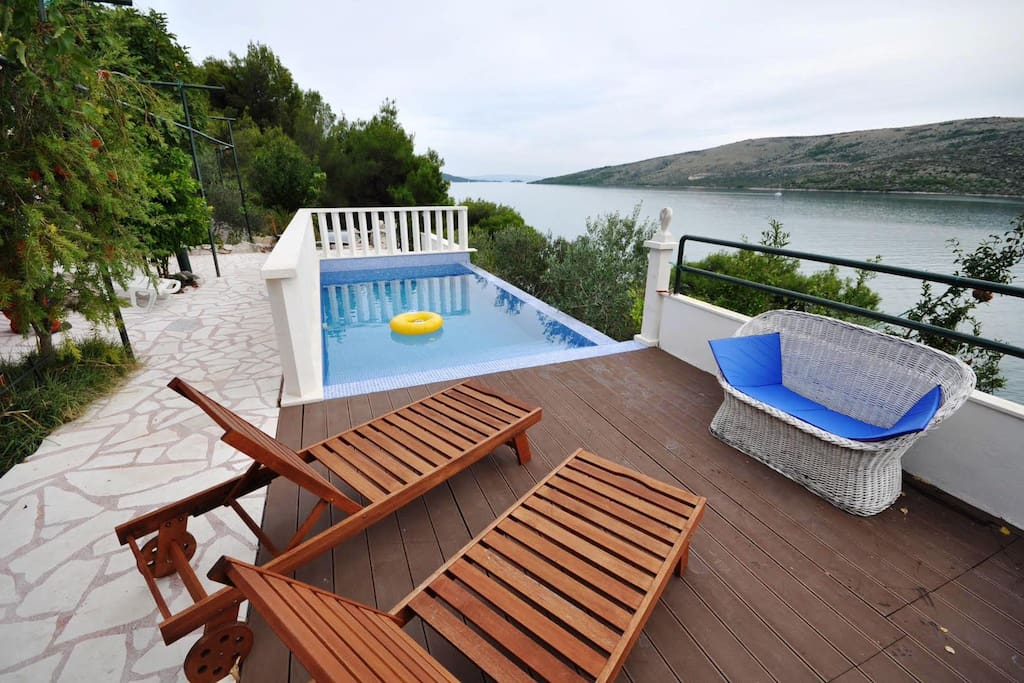 Pool in front of the house