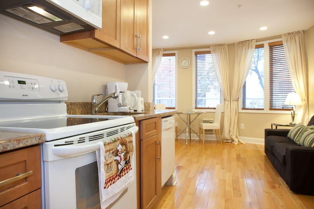 Full size kitchen with dishwasher