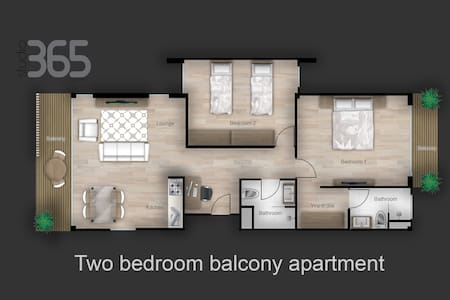 Studio365 Two bedroom balcony apartment