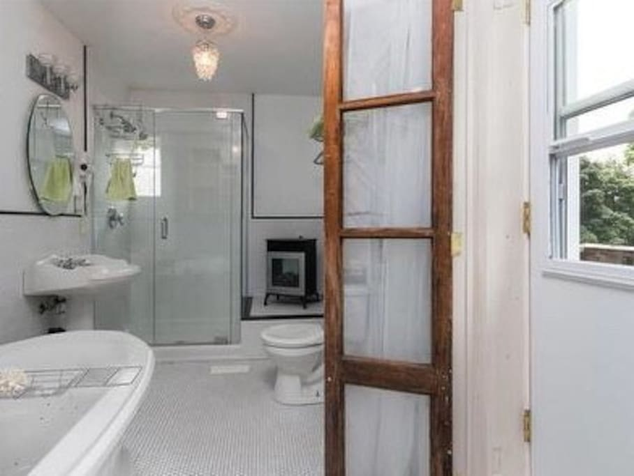 Bright bathroom with shower, soaker tub and balcony.
