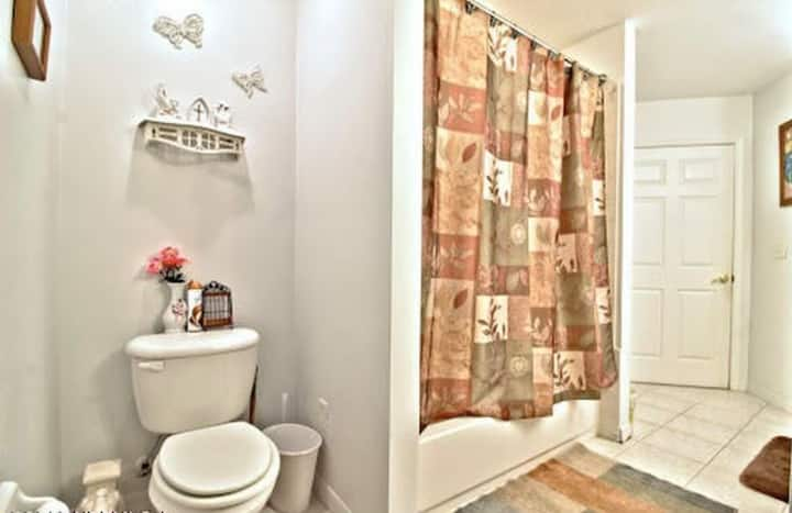 Brick home with queen size bed clean and sanitized