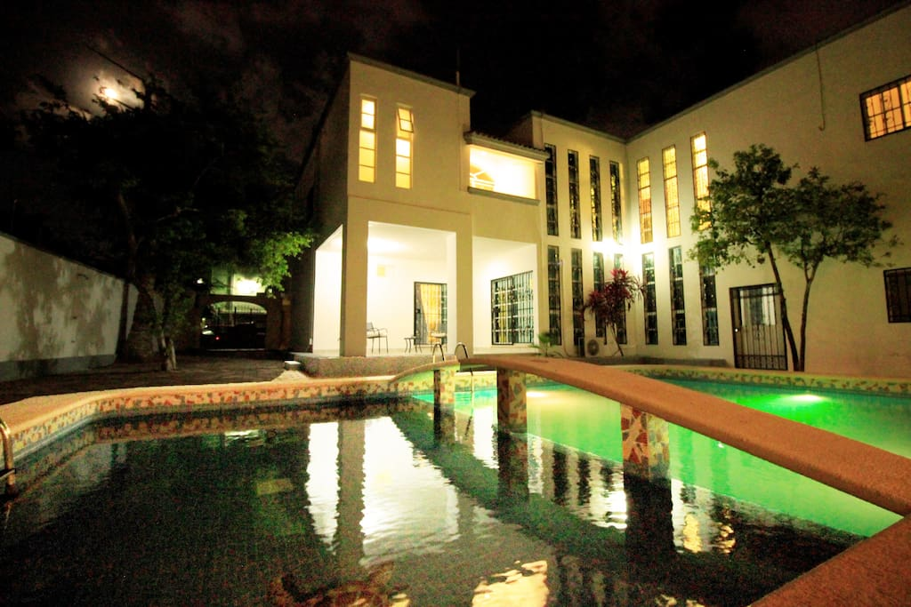 View of the pool area at night