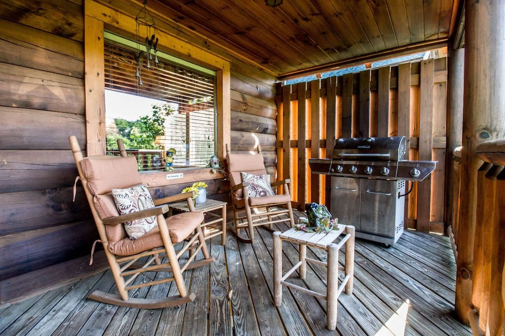 Balcony with Rockers - Enjoy the fresh mountain air and a cup of morning coffee while visiting Zippie Too or Have a Family Grill Night