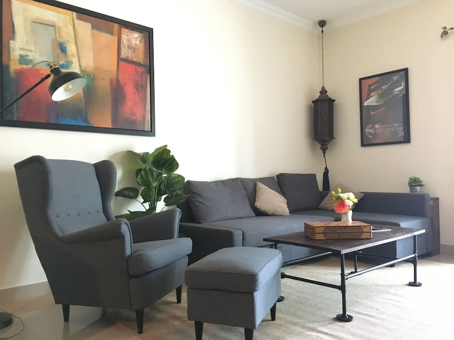 Bright living room with sofa bed