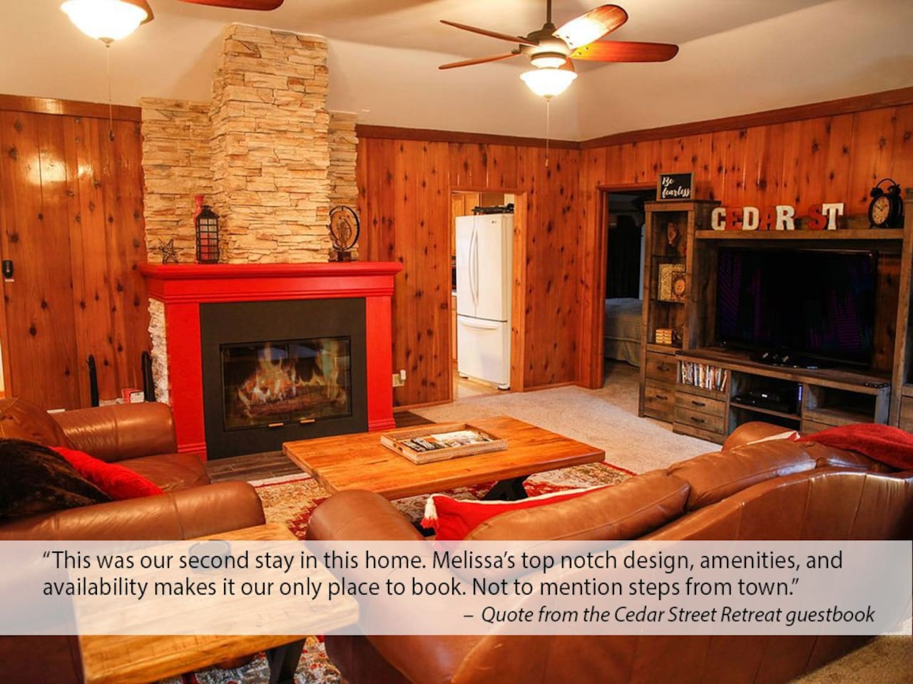 Welcome home! My 5 star homes welcome you. Just read the amazing reviews! The large, comfortable living room is perfect for spending time with family and friends. The wood burning fire place adds to the ambiance.