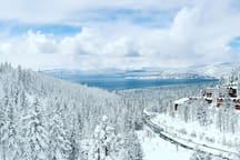 View of Lake Tahoe from the Lakeview Lift at Diamond Peak.