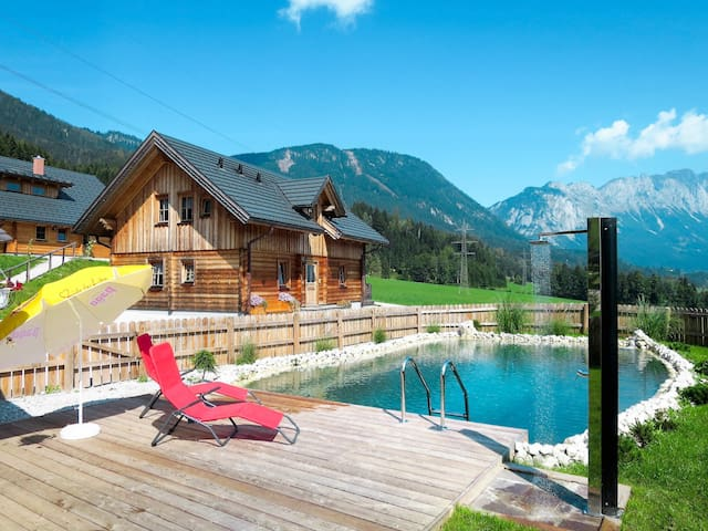 Cozy wooden cottage with sauna and natural swimming pond