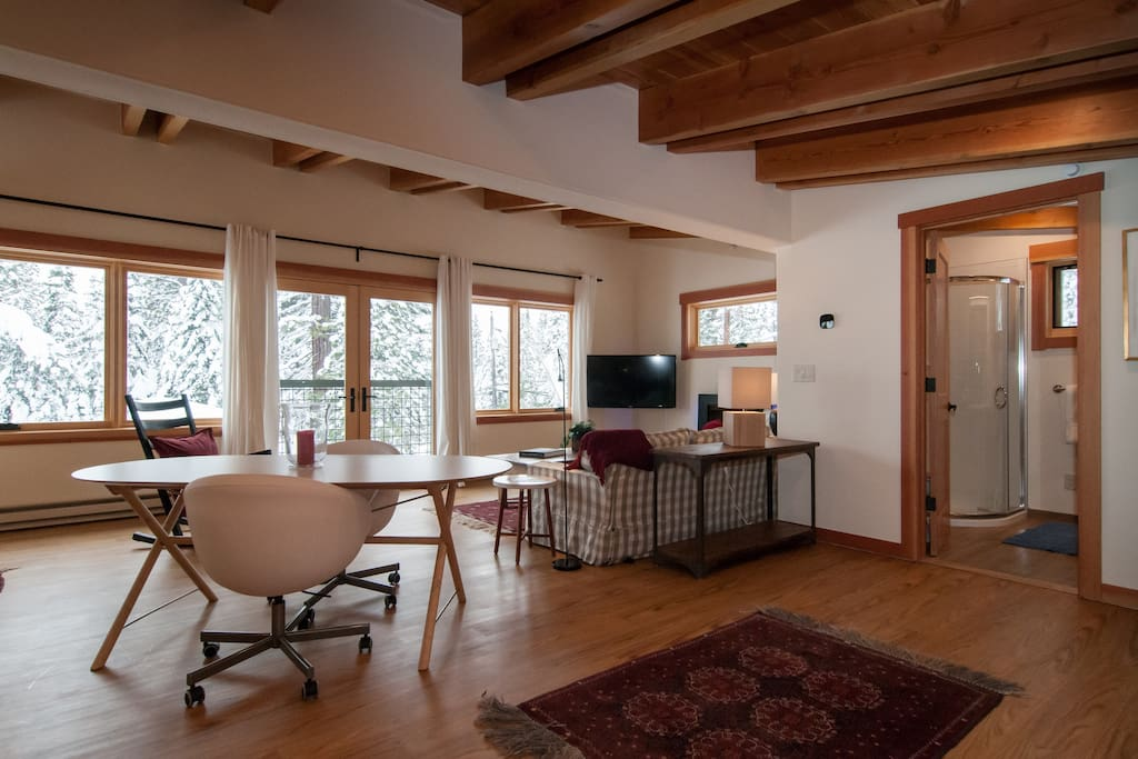 Cozy studio loft with lots of windows and great lake views.