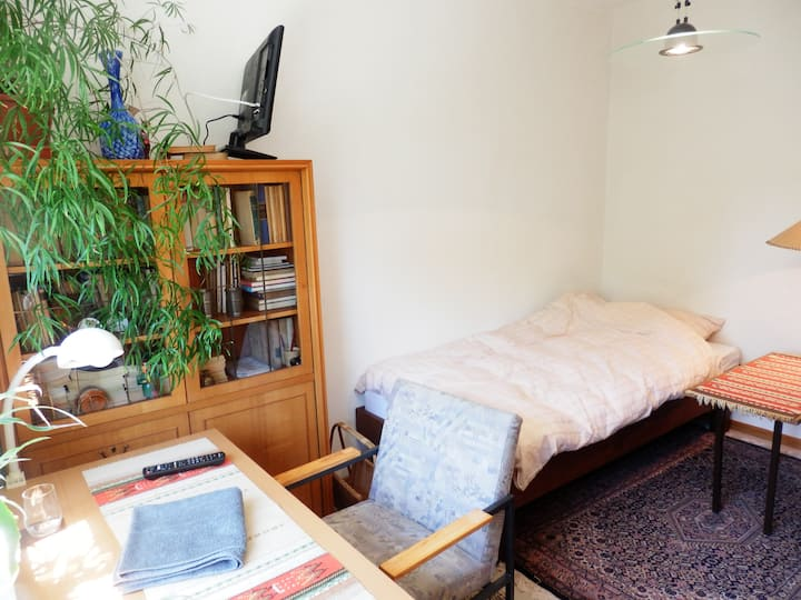 Ruhiges Einzelzimmer mit Gartenblick