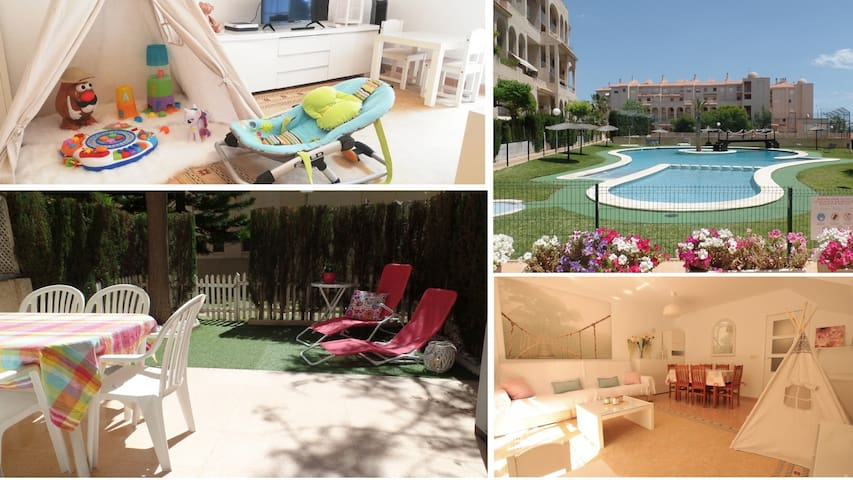 ★Babyfriendly Beach Apt, 3 Bdr, heating, Wifi Pool