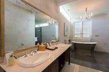The bathroom with the bathtub