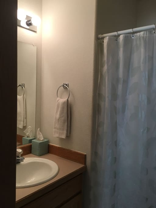 Attached full bathroom includes standard size bathtub with detachable shower head.