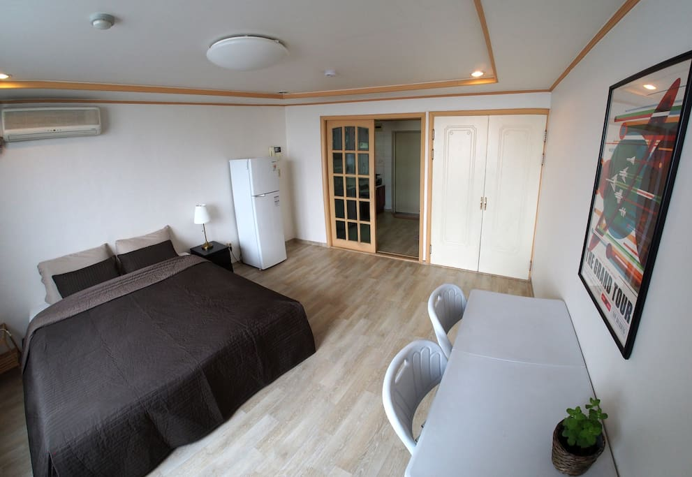 The apartment is spacious and has a super king size bed