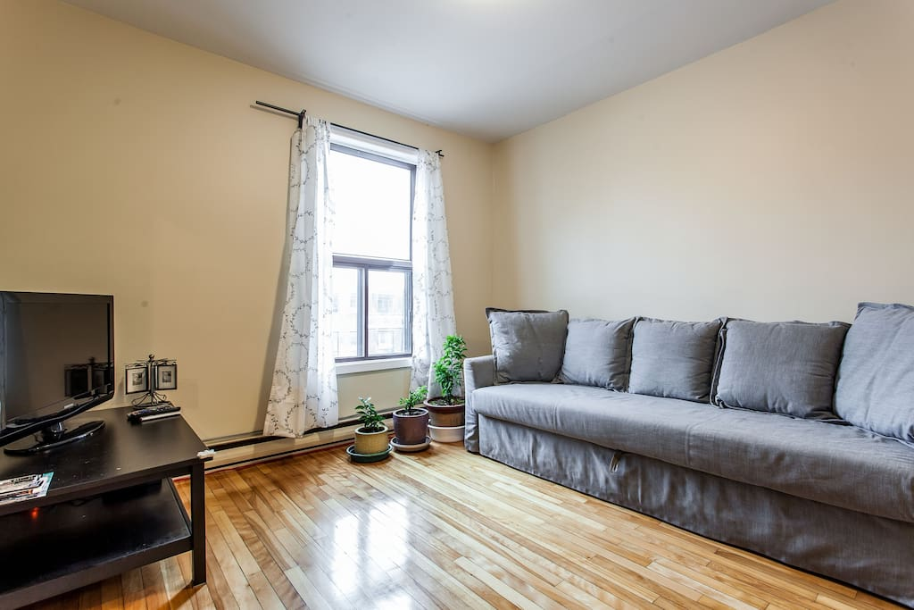 Bright living room with bell satellite TV