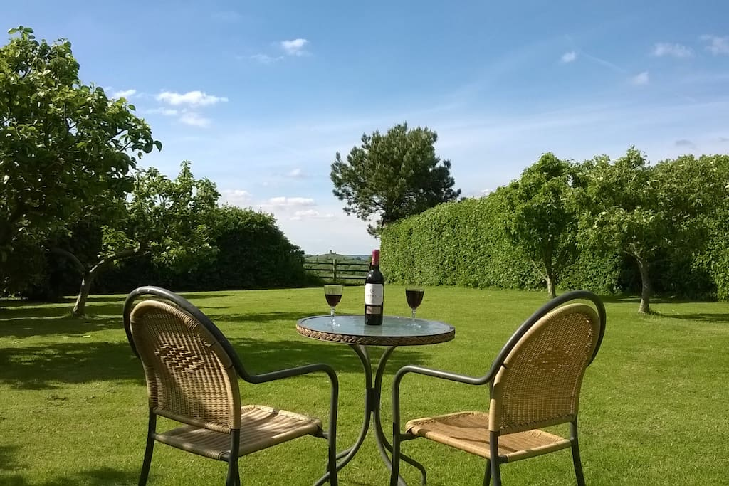 Enjoy a glass of wine in our large garden