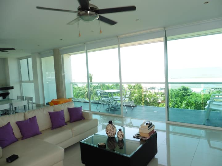 301 On the beach+2100 sq ft +3 BR w/AC +360º Views