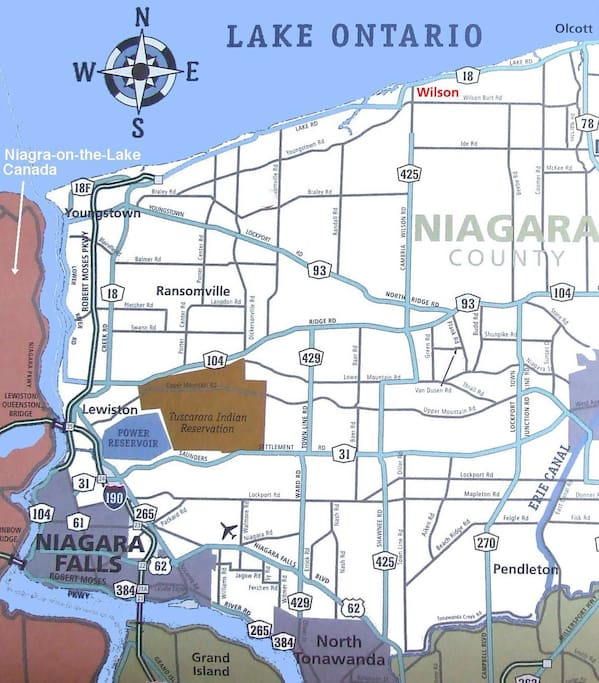 Youngstown is 20 minutes north of Niagara Falls!  Easy ride (no lights or stop signs) all the way via Robert Moses Parkway.